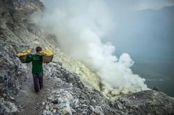 Sulfur Miners at Ijen Volcano
