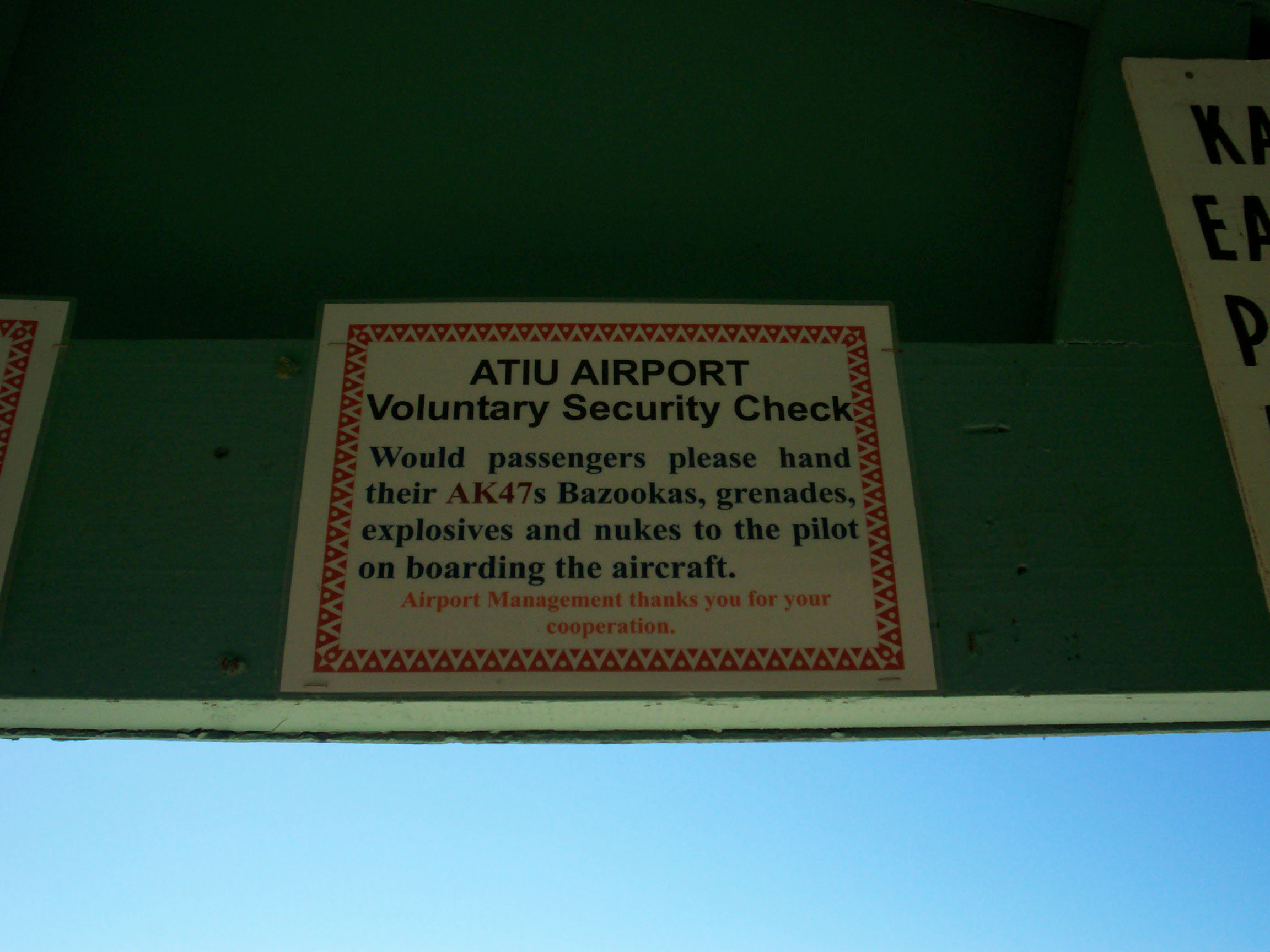Atiu Airport Warning