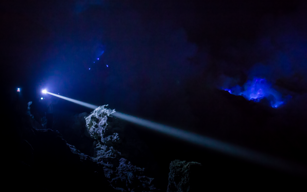 Blue Fire at Ijen Volcano