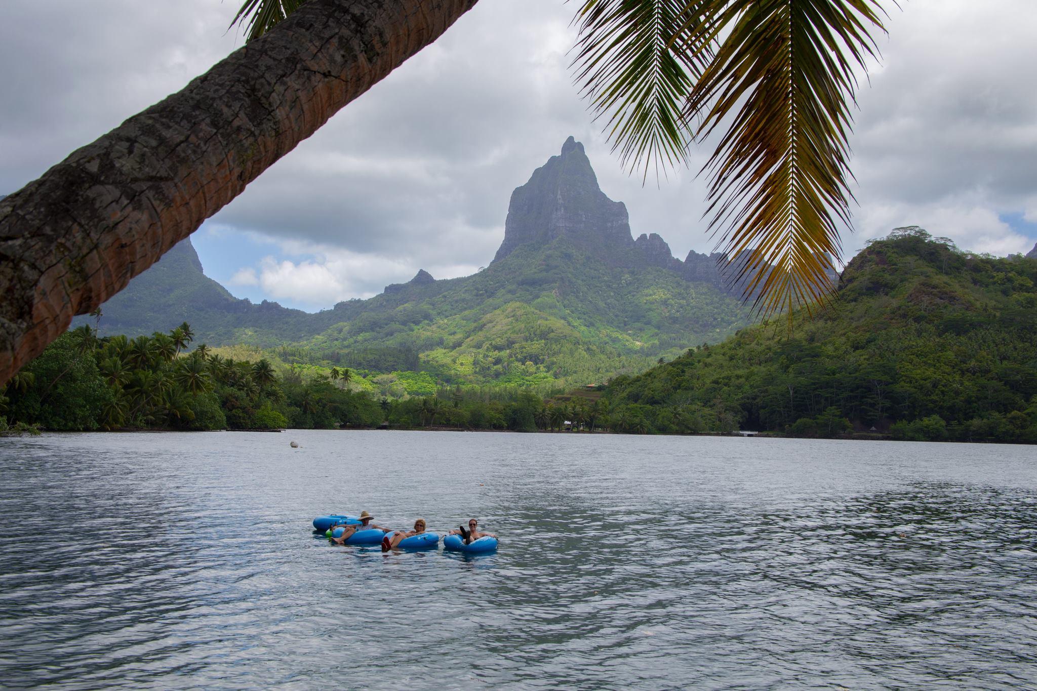 floating on intertubes in Opunohu Bay, Moorea
