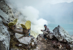 Sulphur Miners at Ijen Volcano
