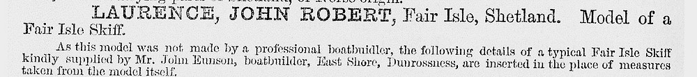Fisheries Exhibition (1883) Catalogue; entry re: John Eunson, boatbuilder, East Shore