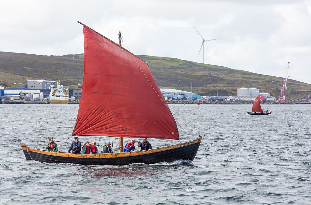 Sixereen 'Far Haaf' under sail during Shetland Boat Week 2019. Photograph ©Maurice Henderson