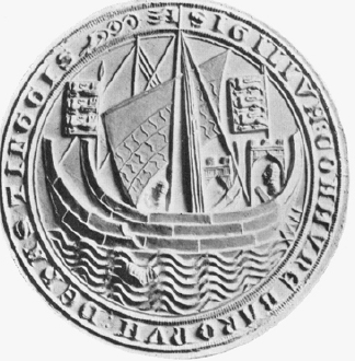 A round fourteenth century seal of Hastings. There are two vessels of Norse appearance. Photograph: ©The Mariner's Mirror, (Hornell 1938: 269).
