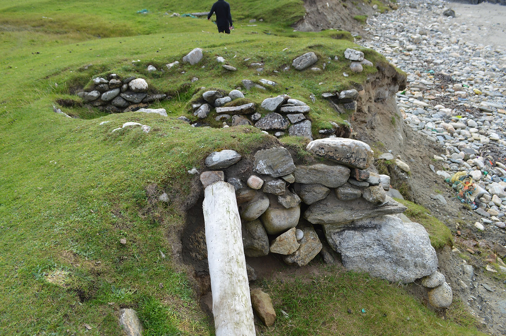 Remains of the two medieval noosts at Underhoull, Unst. Photo ©Chivers, M. 2018.