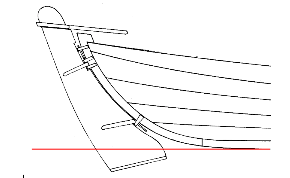 Down-swept protruding yoal rudder c. 1880