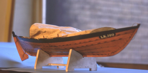 A model of the Shetland yoal Margaret LK100, built by Jack Shewan
