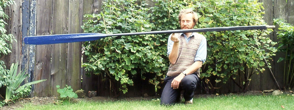 Author holding, a very old, perfectly balanced yoal oar.