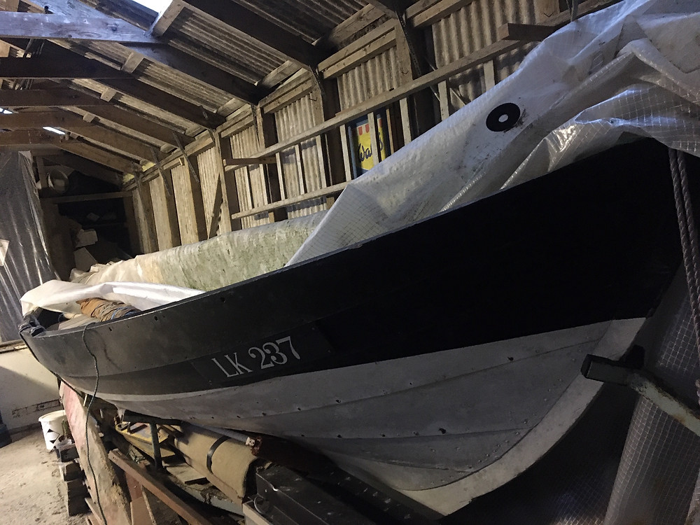 Ness yoal Ivy LK237 in the shed in Exnaboe, Dunrossness.