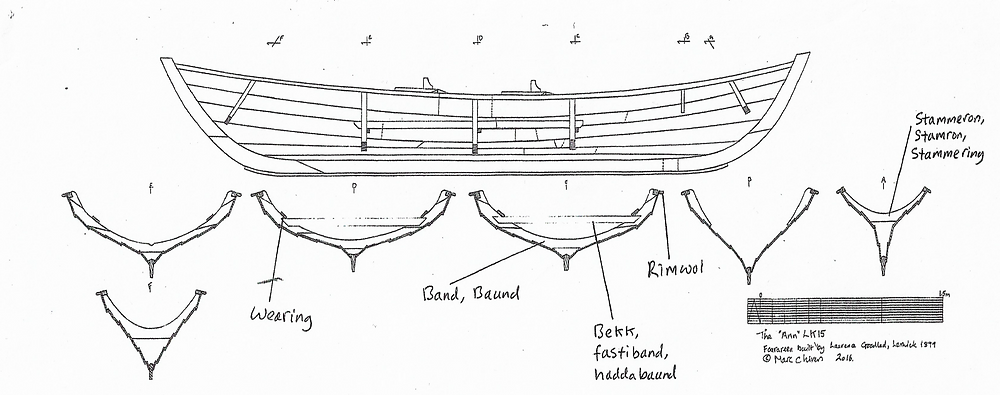 The parts seen in cross-section. Drawing ©M. Chivers, 2016