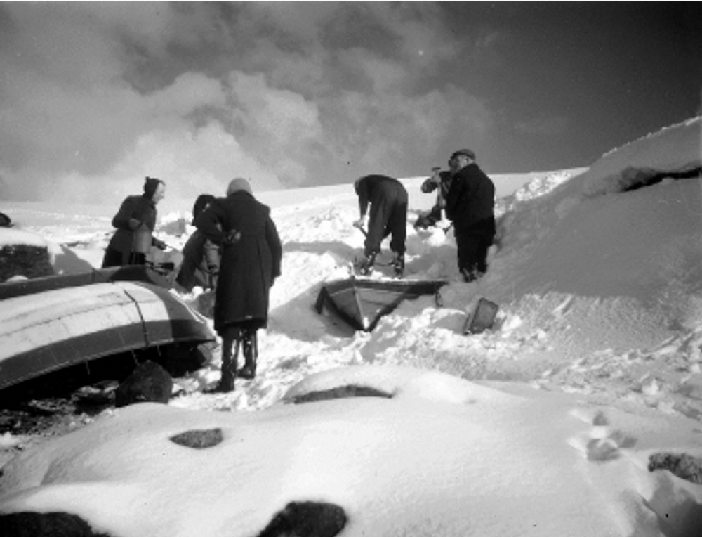 Digging fourareens out from under snow in their noost at Stivler, Nortavoe, to make a trip to the shop at Mid Yell. Photograph: P04084 Peterson, J. Yell, February 1947. ©Shetland Museum & Archives.