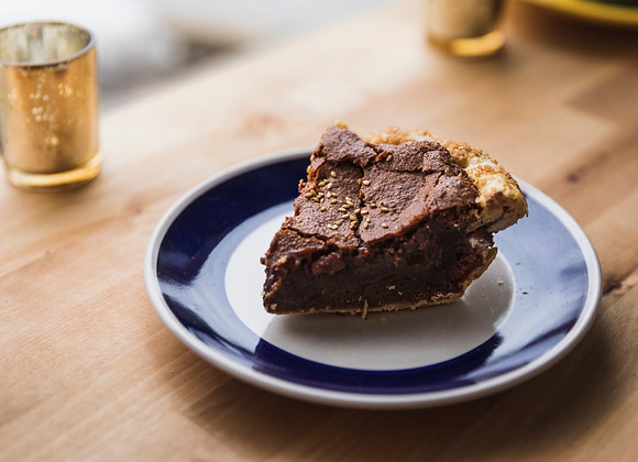 Chocolate Tahini Chess Pie