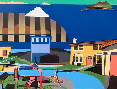 'Subtopia' 2021, mixed media painting, bright colours, yellow house, river, playground and mountains