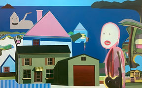 'Suburban Isolation' 2021, mixed media abstract contemporary painting