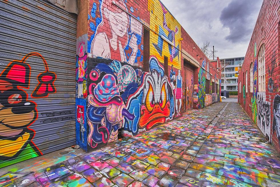 Blender Studios exterior street art in Maloney Lane