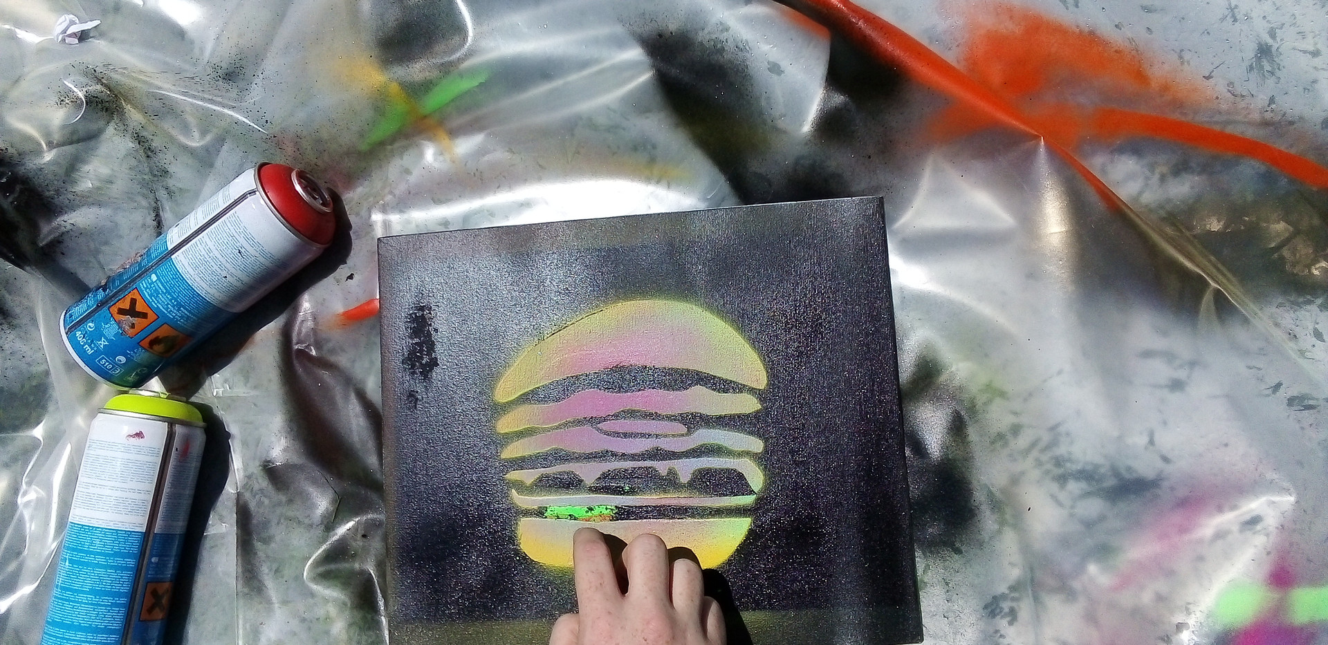 Stencil workshops spray painting