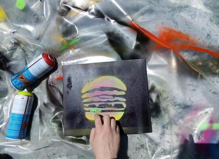 Stencil workshops spray painting