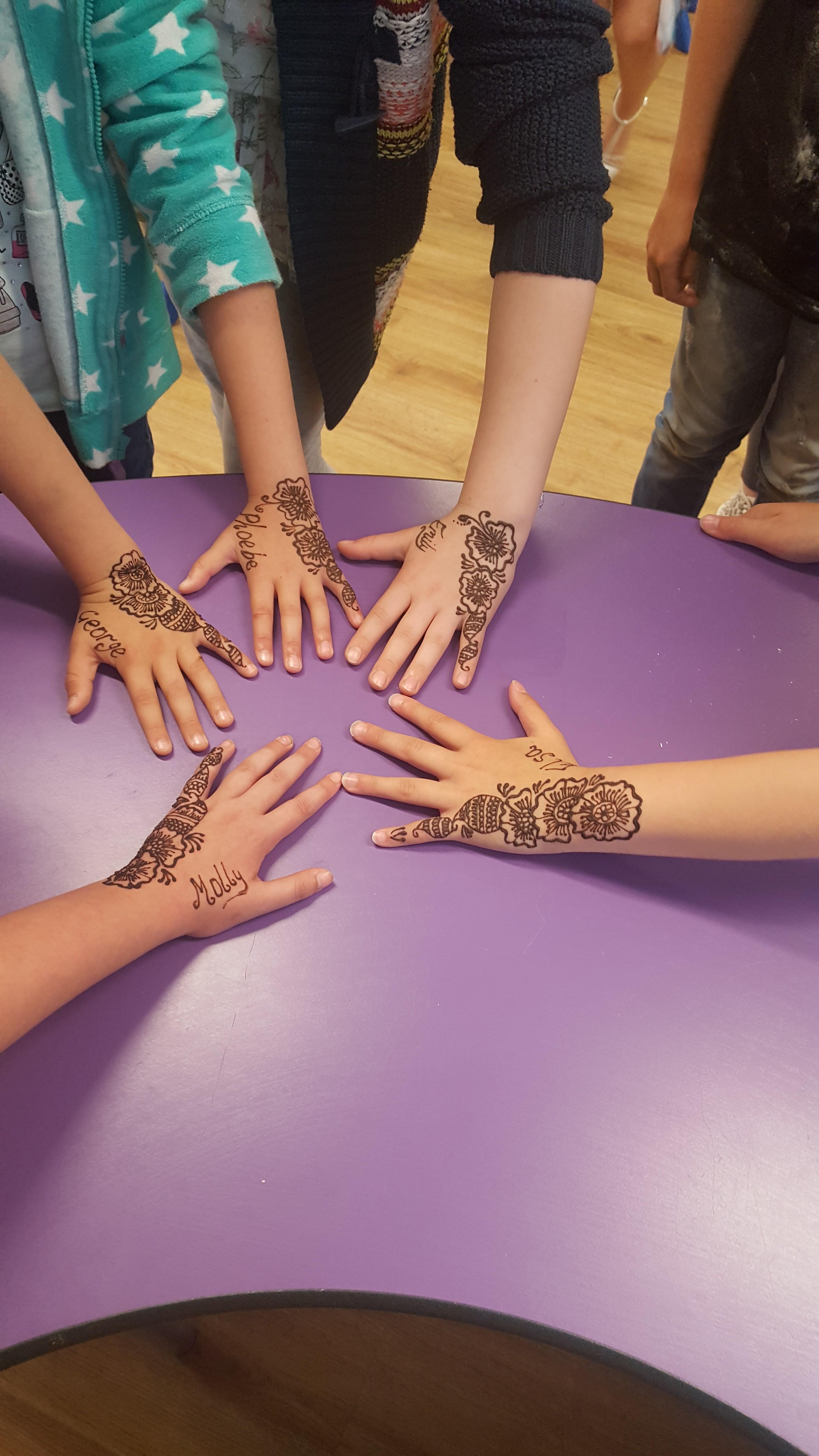 Mehndi henna hands