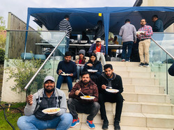 Crew having break Bollywood film