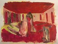 Carsten Dahl, tegning/maleri, Rødt rum