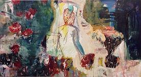 """Carsten Dahl, """"Liquid life"""",maleri, olie på træ"""
