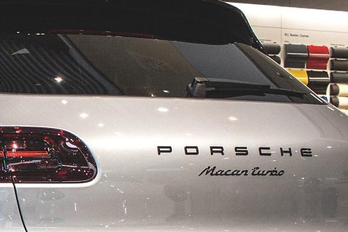 Porsche Letters & Macan Turbo Badge Satin Black