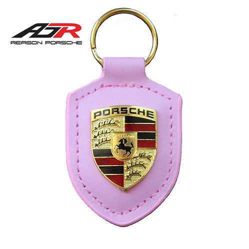 PORSCHE pink leather Crested Key Ring Fob