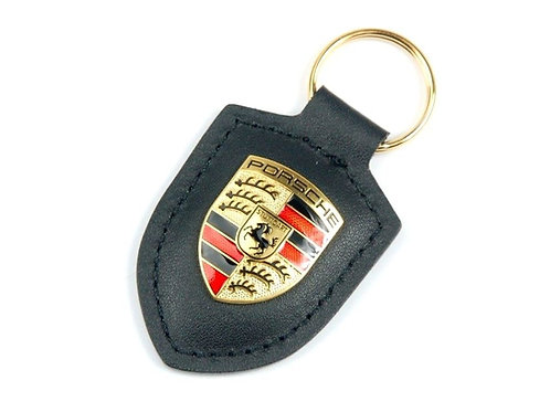 Porsche Black leather Crested Key Ring Fob