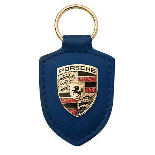 PORSCHE Dark Blue leather Crested Key Ring Fob