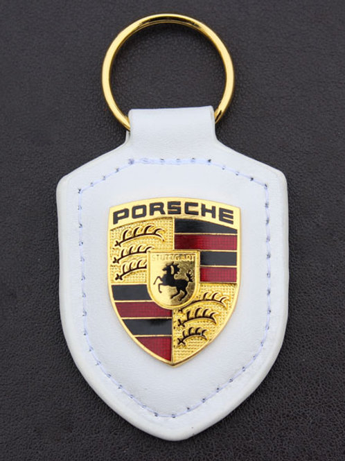 PORSCHE White leather Crested Key Ring Fob