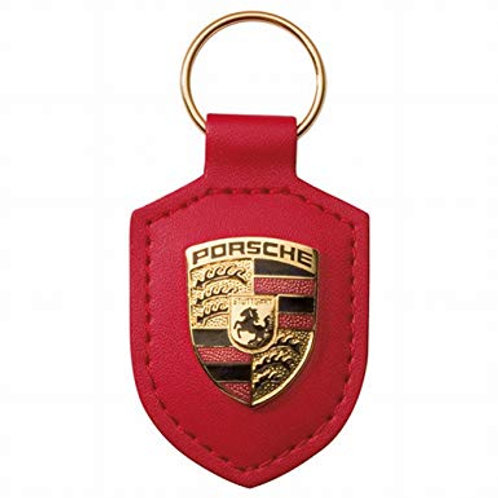 PORSCHE Red leather Crested Key Ring Fob
