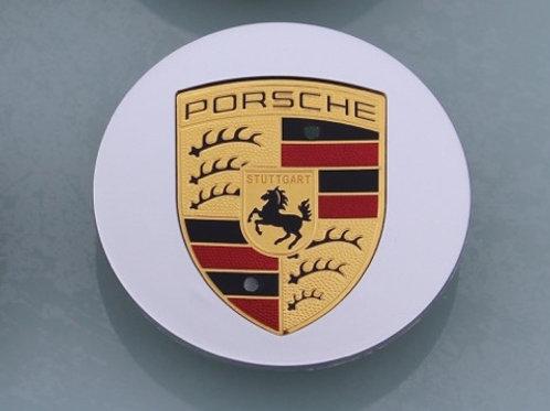 Porsche Alloy Wheel Centres X 1 Silver Colour Crested