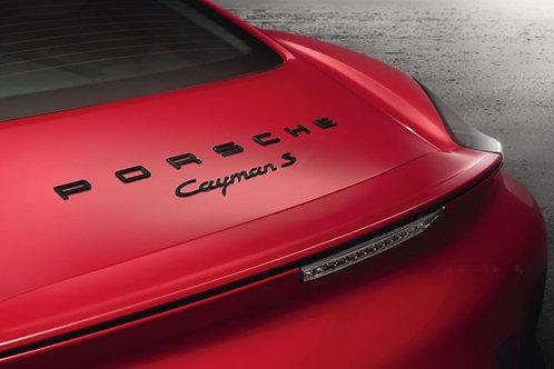 Porsche Letters & Cayman S Badge Black