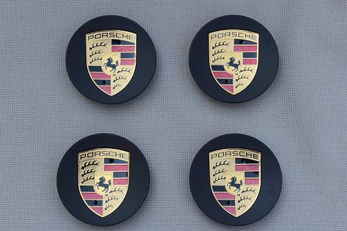 Porsche Alloy Wheel Centres X 4 Matt Black Colour Crested