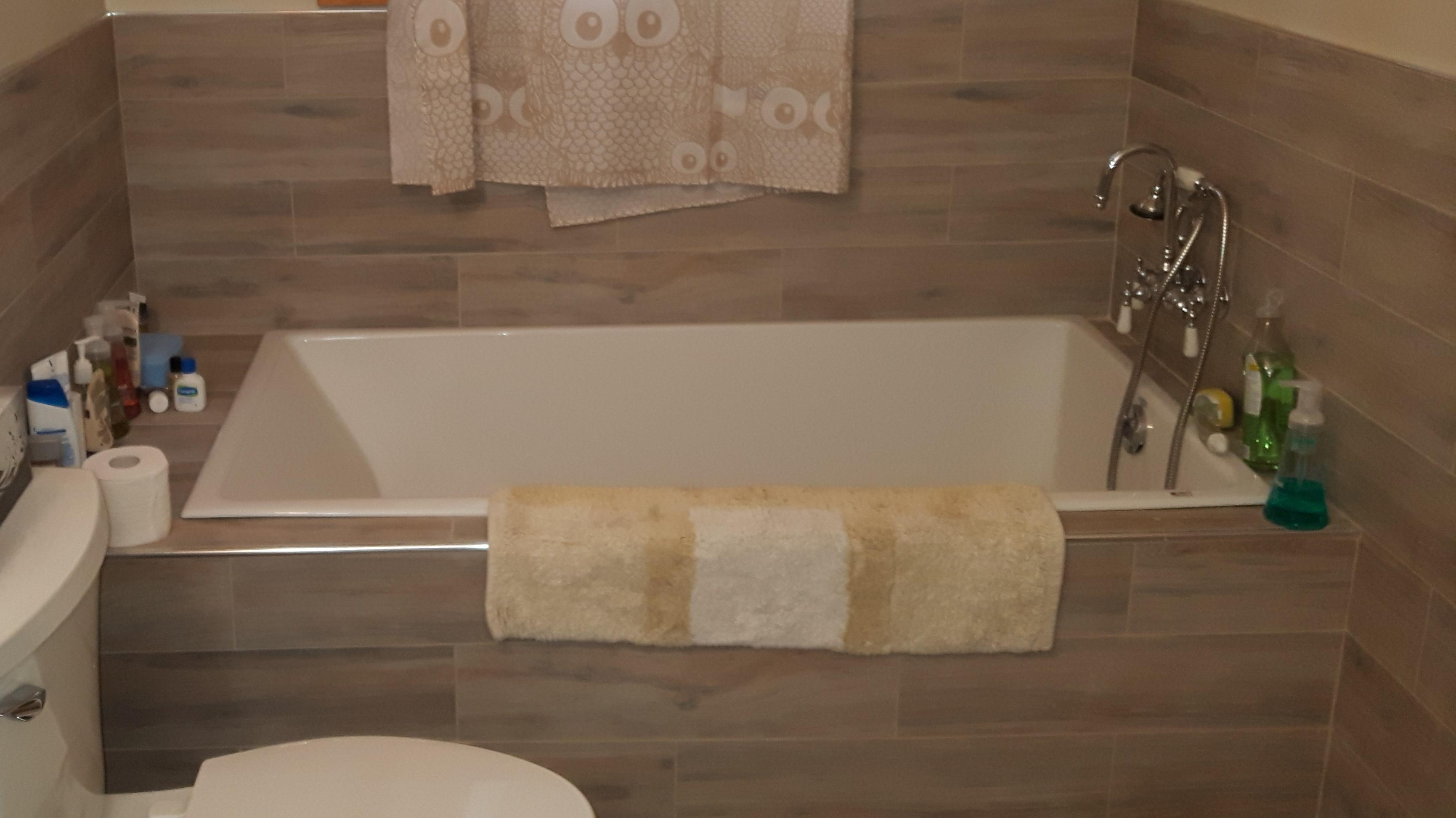 woodgrain ceramic tile tub enclosur