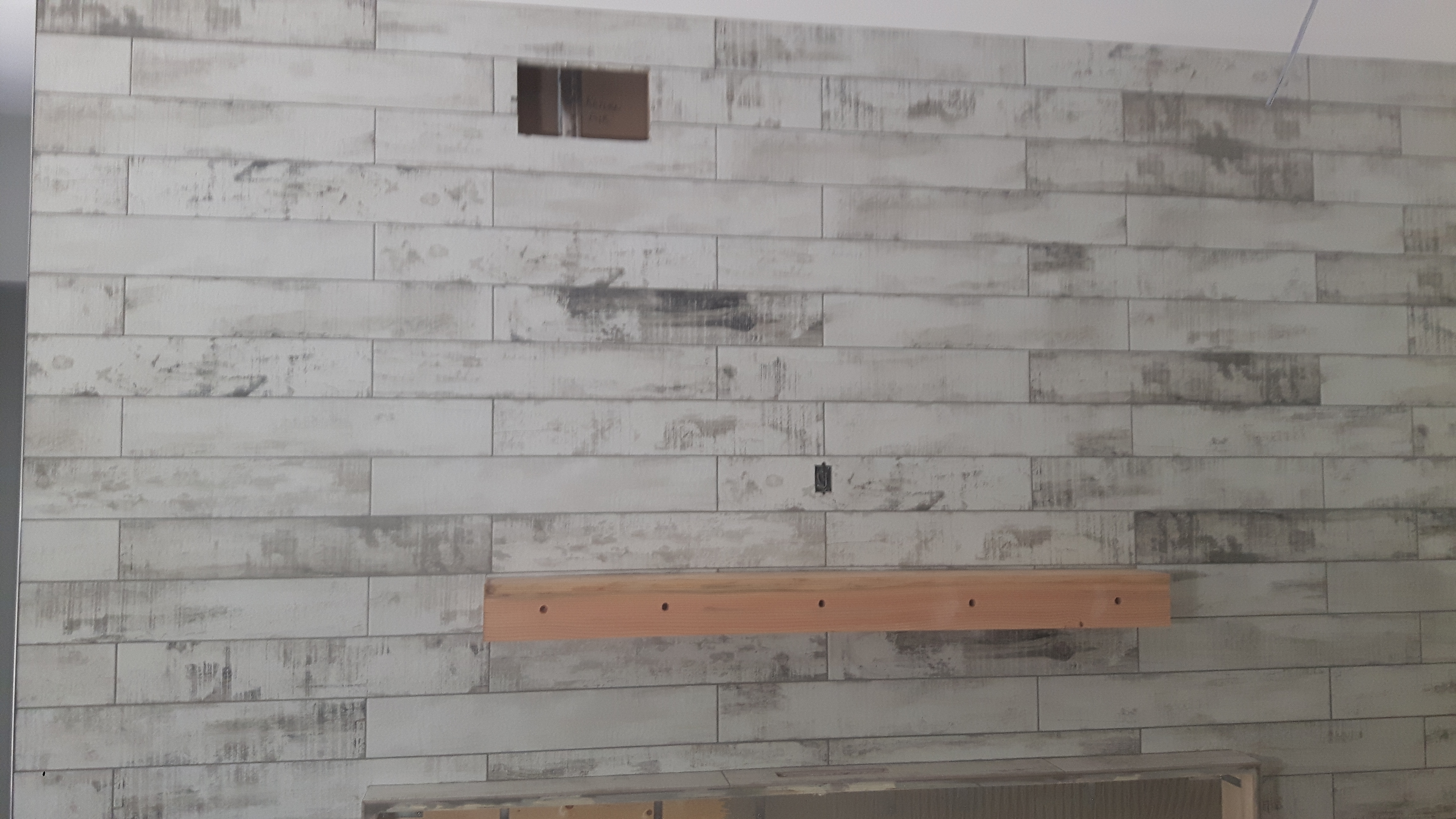 woodgrain ceramic tile feature wall