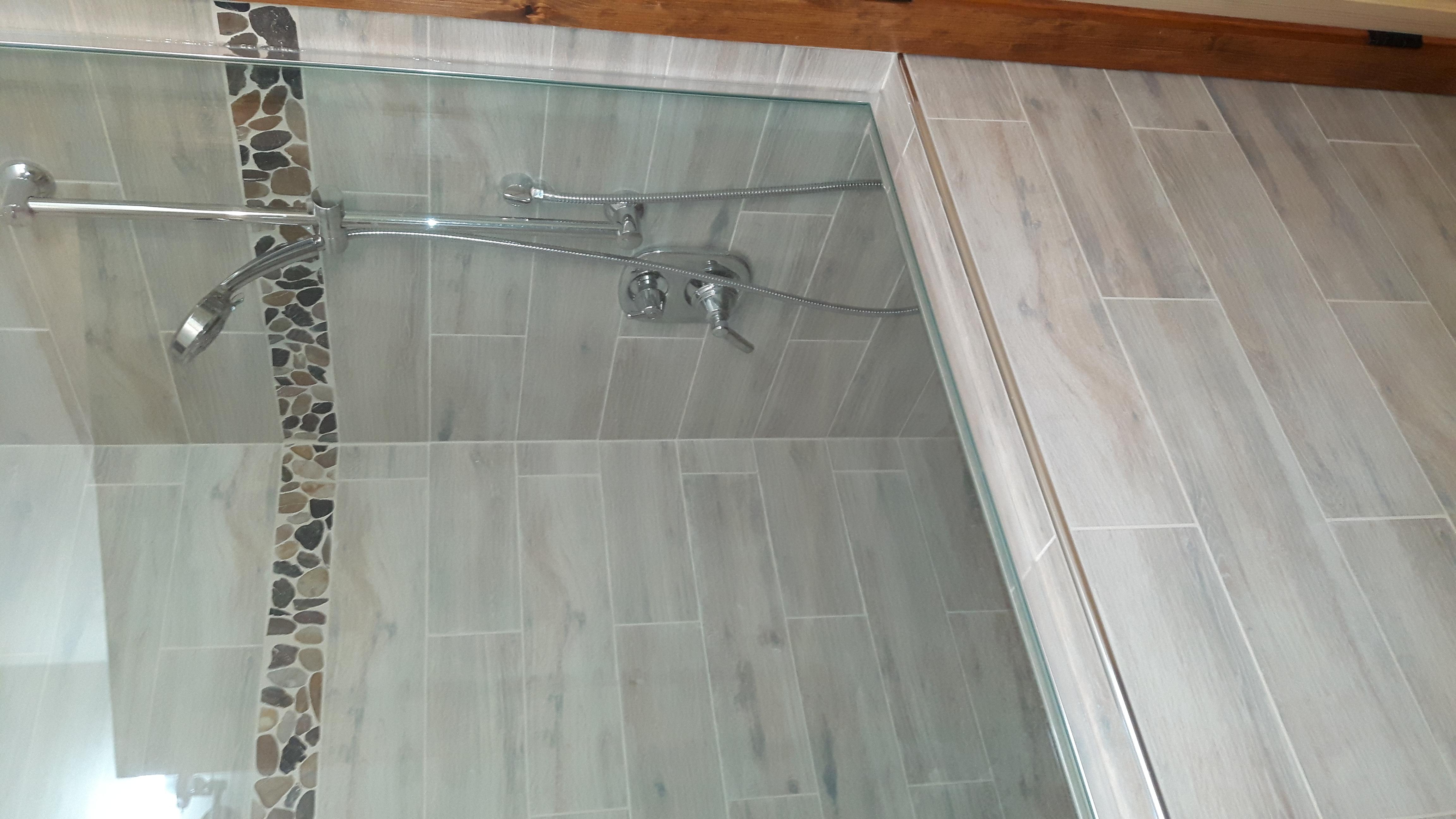 ceramic tile shower surround glass