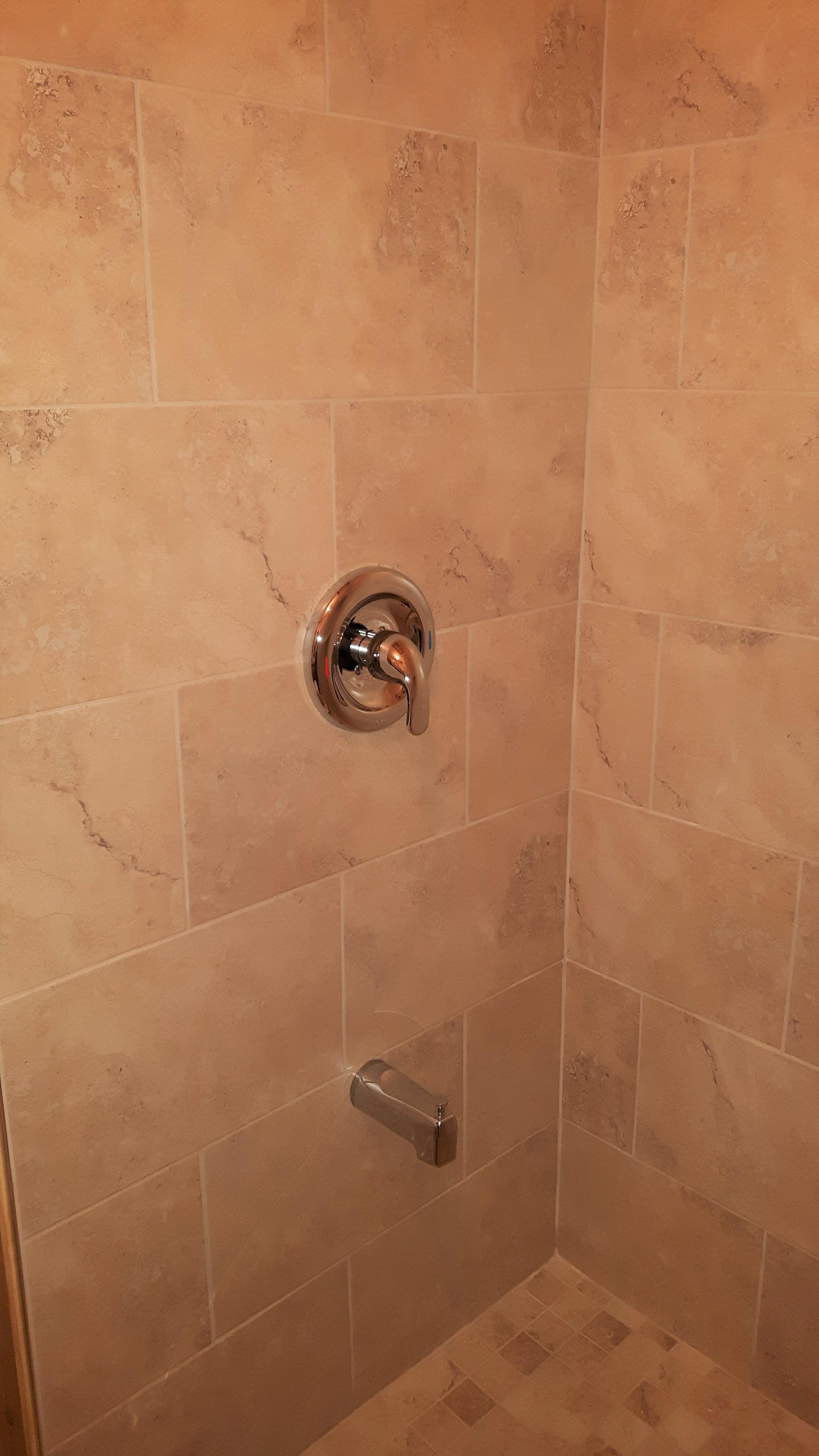 ceramic marble-look tile shower unit