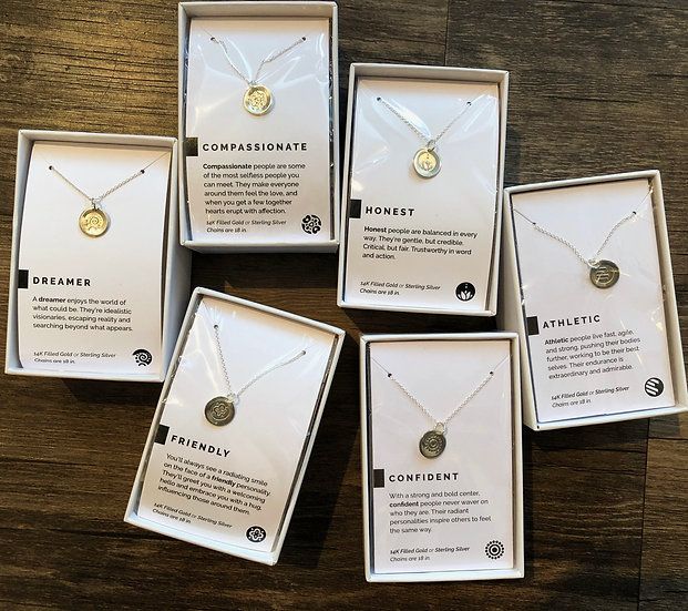 Personality Trait Silver Necklaces
