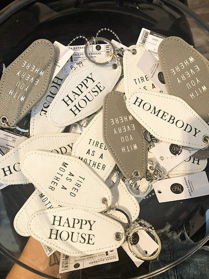 Faux leather key tags