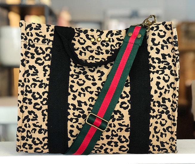 Leopard Print Crossbody Tote