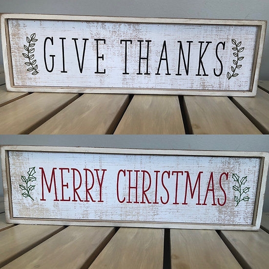 Reversible Wooden Sign