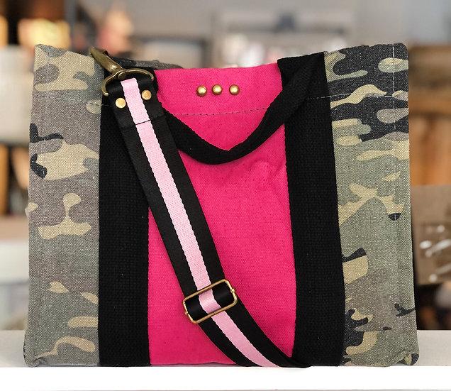 Camo & Pink Stripe Crossbody Tote
