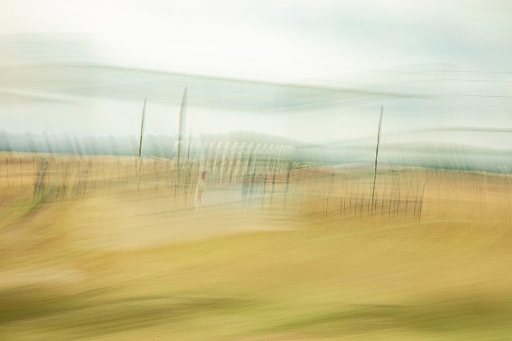 An ICM intentional camera movement photograph of a radio beacon in a landscape