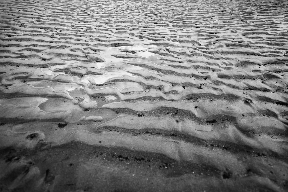 sandy shore with the tide out black and white photography document