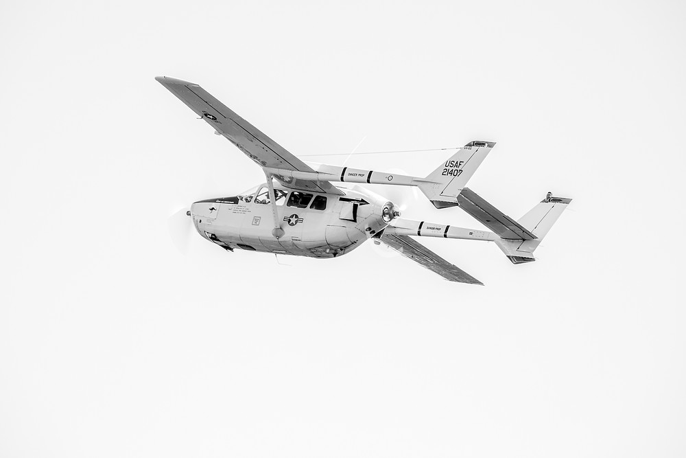 The Temora Aviation Museum's Cessna O-2A Skymaster in flight. Photographed by Megan Kennedy