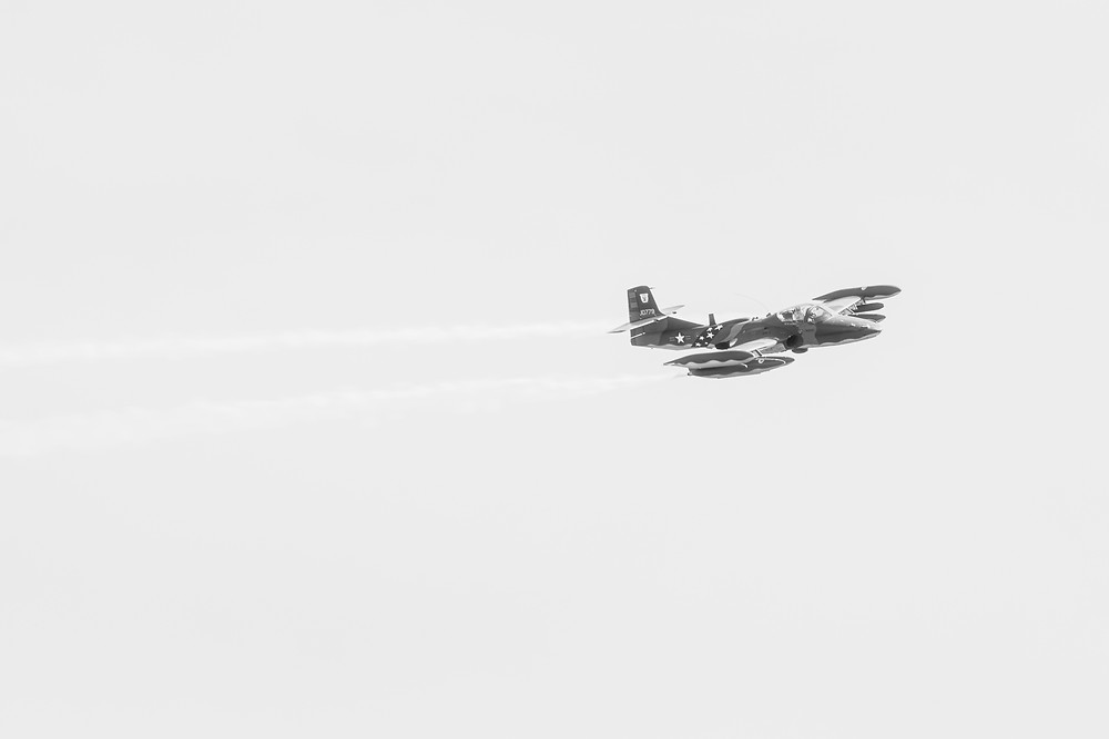 Cessna A-37B Dragonfly in flight. Photographed by Megan Kennedy