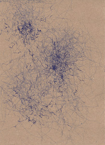A blue ink abstract wind drawing