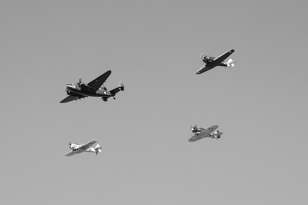 Four Warbirds in black and white aviation photography