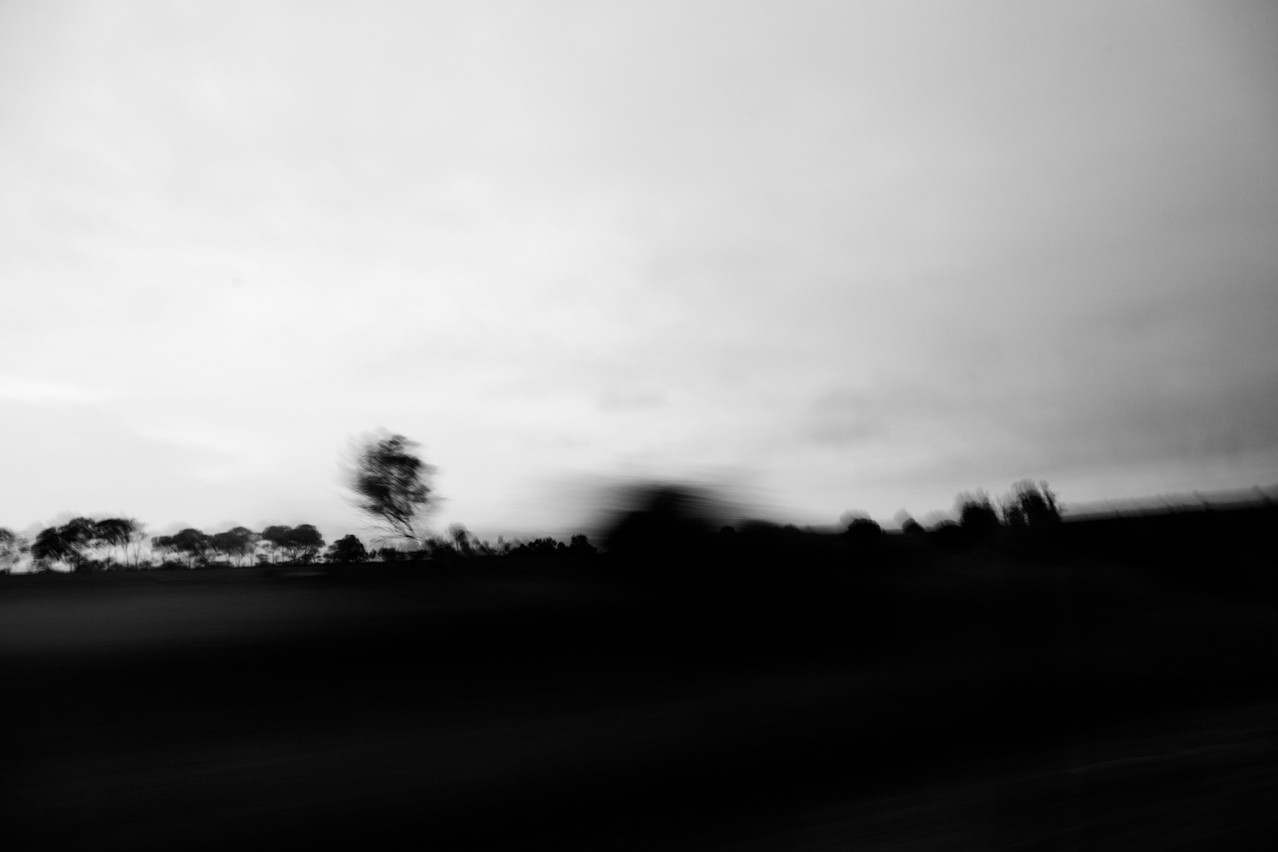 black and white landscape with motion blur